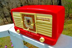 Your place to buy and sell all things handmade Radio Antigua, Retro Radios, Antique Radio, Fancy Cars, Retro Futuristic, Candy Stripes, All Paper, Alarm Set, Candy Cane
