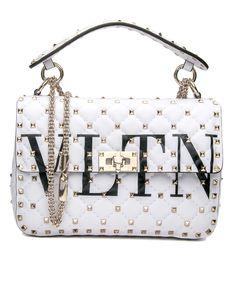 bc5c4bf36e5f61 Valentino Garavani White Rockstud Spike.It Medium Chain Bag Soft lambskin  leather Flap with twist
