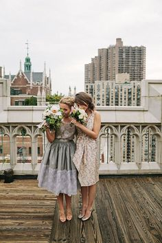 A spontaneous Central Park wedding. The bride & her bridesmaid. photo by Jonas Seaman.