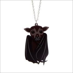 This flying fox bat is made from laser cut acrylic that's hand assembled. He measures tall and hangs from a plated chain. Horse Necklace, Dragonfly Necklace, Mermaid Necklace, Cat Necklace, Laser Cut Acrylic, Carousel Horses, Deep Purple, Laser Cutting, Necklace Lengths