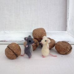 Mouse Miniature Tiny felt Grey mouse White mouse Mini animal Needle felt Mice collection Waldorf Collectible Dollhouse Woolen soft sculpture by CozyMilArt on Etsy https://www.etsy.com/ca/listing/175481154/mouse-miniature-tiny-felt-grey-mouse