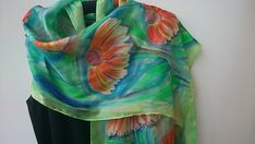 Hand Painted Green Silk Scarf. Marigold Silk Scarf for Her