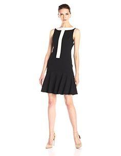 Donna Morgan Women's Sleeveless Colorblock Dress with Drop Waist Flounce Skirt - http://darrenblogs.com/2015/11/donna-morgan-womens-sleeveless-colorblock-dress-with-drop-waist-flounce-skirt/