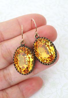Sunflower Yellow Crystal Earrings