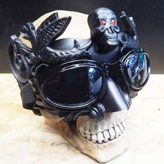 STEAMPUNK MASK - Black Venetian Steampunk Masquerade Mask with Skull and Red Rhinestone Eyes & Matching Steampunk Goggles Set - Burning Man by jadedminx on Etsy