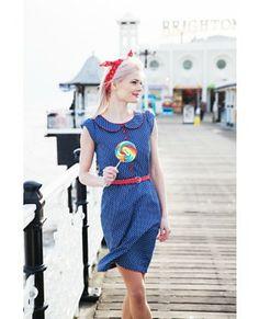 245 - Collar Dress - Denim Polka