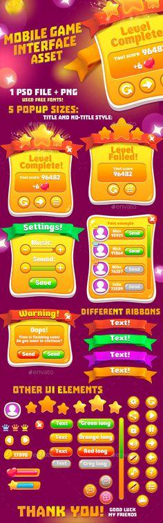 Casual Orange Game Interface Asset