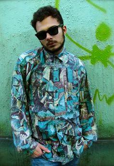 Vintage Patterned Silk Shirt Size - L Vintage Shirts, Vintage Men, Vintage Clothing, Vintage Outfits, Vintage Fashion, Shirt Patterns, Cow Shirt, S Man, Ss16