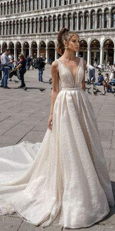 julie vino spring 2018 bridal sleeveless deep plunging v neck full embellishment romantic sexy a line wedding dress open v back royal train (05) mv -- Julie Vino Spring 2018 Wedding Dresses
