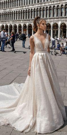 julie vino spring 2018 bridal sleeveless deep plunging v neck full embellishment romantic sexy a line wedding dress open v back royal train (05) mv -- Julie Vino Spring 2018 Wedding Dresses