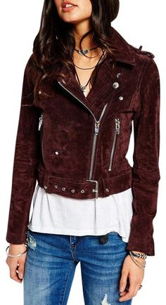e605f9216f9 BlankNYC Plum Morning After Suede Leather Cropped Motorcycle Jacket Size 12  (L) - Tradesy