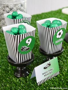 World Cup Party Ideas: Soccer Football Inspired Party Desserts Table by Bird's Party