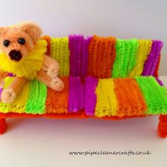 pipe cleaner couch - pipe cleaner furniture. pipe cleaner bear is going into the furniture business.