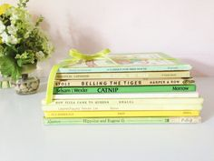 STACK VINTAGE BOOKS Decorative Yellow & by AnnmarieFamilyTree