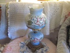 Beautiful Blue Hurricane Lamp with Pretty by Daysgonebytreasures, $75.00