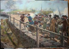 The fight at Concord Bridge , April 19th 1775. Minutemen with bayonets? The Acton company had them which could have been why they were in the front of the patriot column. By Don Troiani