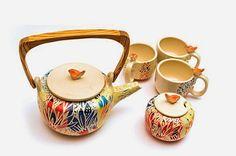 Nuevo Juego de Té !: MUNDO CACHARRO Ceramic Teapots, Ceramic Art, Ceramic Techniques, Ceramic Studio, My Cup Of Tea, Kitchen Art, Handmade Pottery, Tea Time, Tea Pots