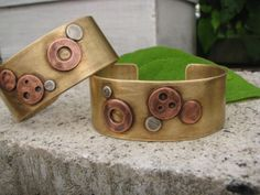 Brass Copper and sterling silver Gadget Bracelet Cuff ,oxidized, patina, industrial,unisex