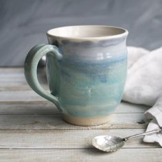 Ceramic Mug White with Soft Shades of Blue Handmade Pottery Coffee Cup Ready to Ship Made in USA by AndoverPottery on Etsy https://www.etsy.com/listing/238155997/ceramic-mug-white-with-soft-shades-of