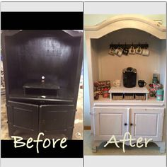 Took an old armoire and turned it into a coffee bar. Was really simple to do. There are so many ways that you could decorate this piece. Also, you can use the under storage space for appliances that are not wanted on your counter tops. My hubby to be loves it too