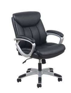 OFM Essentials Black Leather Office Chair with Lumbar Suppor.- OFM Essentials Black Leather Office Chair with Lumbar Support (Black Leather) OFM Essentials Black Leather Office Chair with Lumbar Support (Black Leather) - Best Ergonomic Office Chair, Best Office Chair, Executive Office Chairs, Office Desk, Swivel Chair, Chair Cushions, Upholstered Chairs, Cheap Office Chairs, Cheap Desk