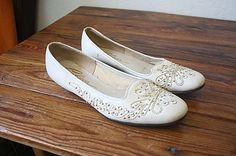 Vintage 60s Shoes / Embroidered  Studded Flats / ...