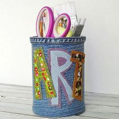 Every child needs a personalized pencil holder! This upcycled craft turns old jeans into a custom craft!