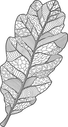 Illustration about Adult coloring book page with decorative oak leaf on white background. Illustration of ornamental, leaf, organic - 118071847 Fall Coloring Pages, Adult Coloring Book Pages, Doodle Coloring, Coloring Books, Leaf Coloring Page, Creative Arts Therapy, Fall Arts And Crafts, Fall Art Projects, Learn Art