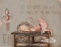Print: Let her sleep. Love Rut's art. Angel Drawing, Angel Pictures, Guardian Angels, Angel Art, Pictures To Paint, Medium Art, Folk Art, Sketches, Canvas Prints