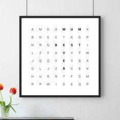 Ebenso schöne wie ungewöhnliche Art, jemanden, der einem wichtig ist, zu sagen, was immer du ihm sagen willst: unser Personalisiertes Poster Wörtersuche.