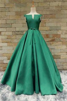 Green satin long V neckline senior prom dress with bowknot