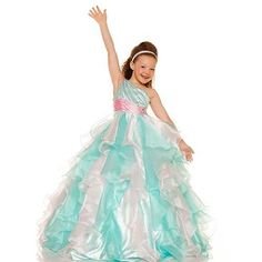 Phashionique: Apparel: Sugar Mint Green Pink Swirl One Shoulder Pageant Dress Girls 2T-14: Buy New: £198.31 [UK & Ireland Only] i love it!!!!!!!!!!