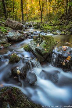 Autumn Photography Creek Waterfall Fine by SoulCenteredPhotoart