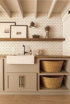 jennasuedesign.com  Farm house sink, subway tile, neutral palette - Beautiful!