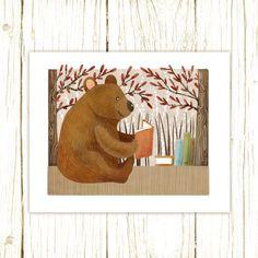 bear art print  The Bookish Forest: Bear  by TheFoxandTheTeacup