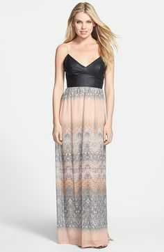 Charlie Jade 'Athena' Faux Leather & Silk Chiffon Maxi Dress available at #Nordstrom #Sweepstakesentry