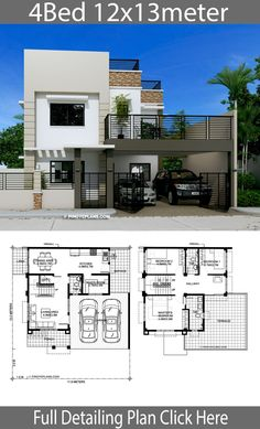 Home Design Plan with 4 Bedrooms. - Home Design with Plansearch Modern House Floor Plans, Home Design Floor Plans, Duplex House Plans, Home Building Design, Contemporary House Plans, Dream House Plans, Dream Houses, Modern Contemporary, Two Story House Design