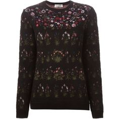 Valentino Floral Intarsia Sweater ($2,690) ❤ liked on Polyvore featuring tops, sweaters, black, floral top, valentino sweaters, black sweater, black long sleeve sweater and black long sleeve top