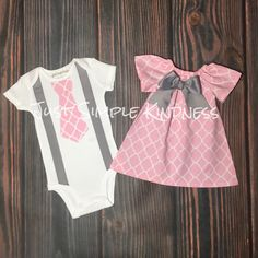 Baby Boy & Baby Girl Twin Outfit. Easter Outfit. Twin Outfit. Boy Girl Twins Outfit. Pink and Gray outfit, quatrefoil outfit, summer outfit, by JustSimpleKindness on Etsy https://www.etsy.com/listing/221136814/baby-boy-baby-girl-twin-outfit-easter