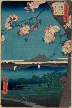 "Utagawa Hiroshige ""Forest of Suijin Shrine and Masaki on the Sumida River"" c.1856. --- I selected this piece as inspiration for a more layered woodblock print, that is, I wanted to attempt a print with a very close foreground and a very distant background. I decided, however, that this should not necessarily be the first print I do."