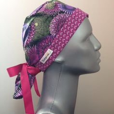 Ponytail Scrub Cap featuring purple fabric with shades by KimKaps
