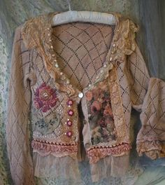 "swansong-willows: "" (via Resereved to Tonia—Wanderess, cute reworked vintage cardi with nuno …) """