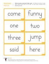 Free kindergarten worksheets with 8 Dolch sight words to a page. Cut them apart to make free Dolch Sight Word flashcards for children.