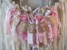 Tattered Material Lace Garland Pink Presents Banner Shabby Stylish Classic Barn Wedding ceremony Romantic Prairie.  See more by clicking the picture link