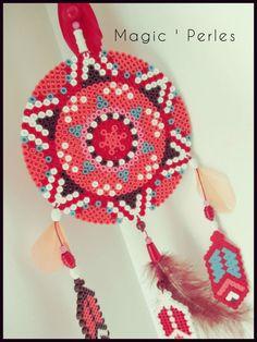 "Collection Attrape-Rêves ""Mandala  Ethnique"" - Dreamcatcher mandala hama beads by Alice Tobbi"