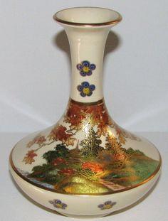 Japanese Vintage Porcelain 薩摩焼 Satsuma-yaki Porcelain Vase of the from manyfacesofjapan on Ruby Lane