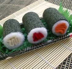 Sushi toys for cats but easily made in felt.