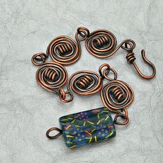 Copper Bracelet Blue Bead by UrbanJule on Etsy, $35.00