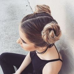Two Buns Hairstyle ❤ liked on Polyvore featuring buns