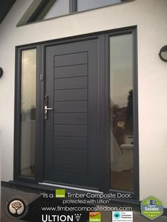 Solidor Timber Composite Doors 12 Months Interest Free Credit by Timber Composite Doors Real Pictures, Real Homes, Real Doors,… Grey Composite Front Door, Grey Front Doors, Modern Front Door, Front Door Design, The Doors, Windows And Doors, Front Door Porch, Front Door Entrance, House Front Door